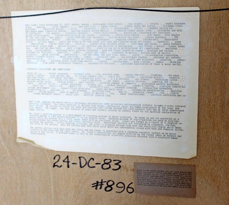 Mid-Century Modern Framed Copper Metal Etched Artwork Signed Dale Clark, 1980s For Sale 8