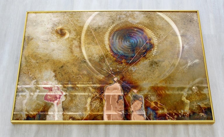 For your consideration is a marvellous, framed piece of copper etched artwork, signed and dated by Dale Clark, 1983. Beautiful designs are formed as a result of a chemical reaction between the plated surface and highly corrosive acids. Additional