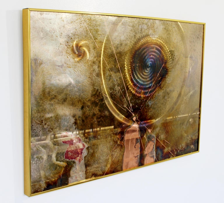 Late 20th Century Mid-Century Modern Framed Copper Metal Etched Artwork Signed Dale Clark, 1980s For Sale