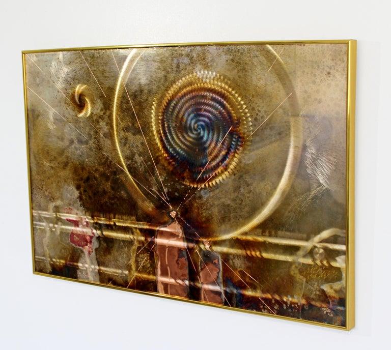 Mid-Century Modern Framed Copper Metal Etched Artwork Signed Dale Clark, 1980s For Sale 1