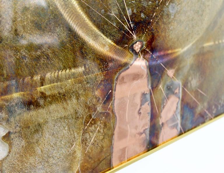 Mid-Century Modern Framed Copper Metal Etched Artwork Signed Dale Clark, 1980s For Sale 2