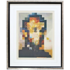 Mid Century Modern Framed Abraham Lincoln After Salvador Dali Embossed Litho 70s