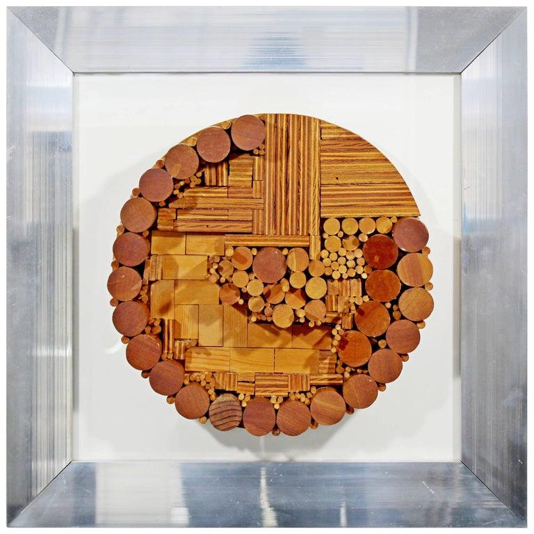 Mid Century Modern Framed Dimensional Wood Wall Art Sculpture Greg