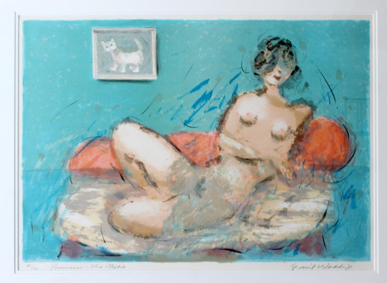 For your consideration is a framed lithograph of a reclining nude, signed by Eddie Weddige, numbered 21/60. In excellent condition. The dimensions of the frame are 36