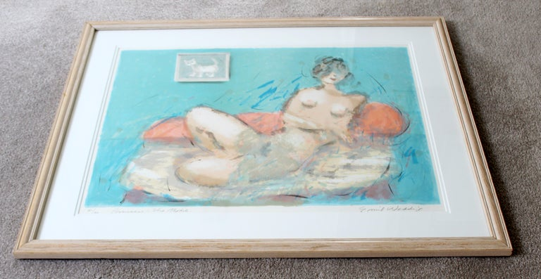 American Mid-Century Modern Framed Emil Weddige Signed Lithograph of Reclining Nude 21/60 For Sale