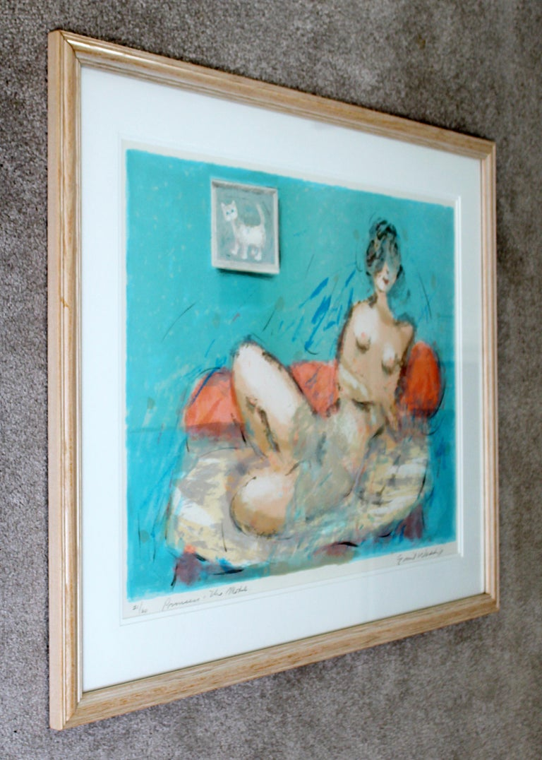 Mid-Century Modern Framed Emil Weddige Signed Lithograph of Reclining Nude 21/60 In Good Condition For Sale In Keego Harbor, MI