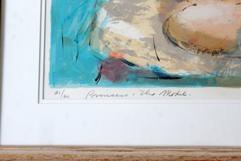 Late 20th Century Mid-Century Modern Framed Emil Weddige Signed Lithograph of Reclining Nude 21/60 For Sale