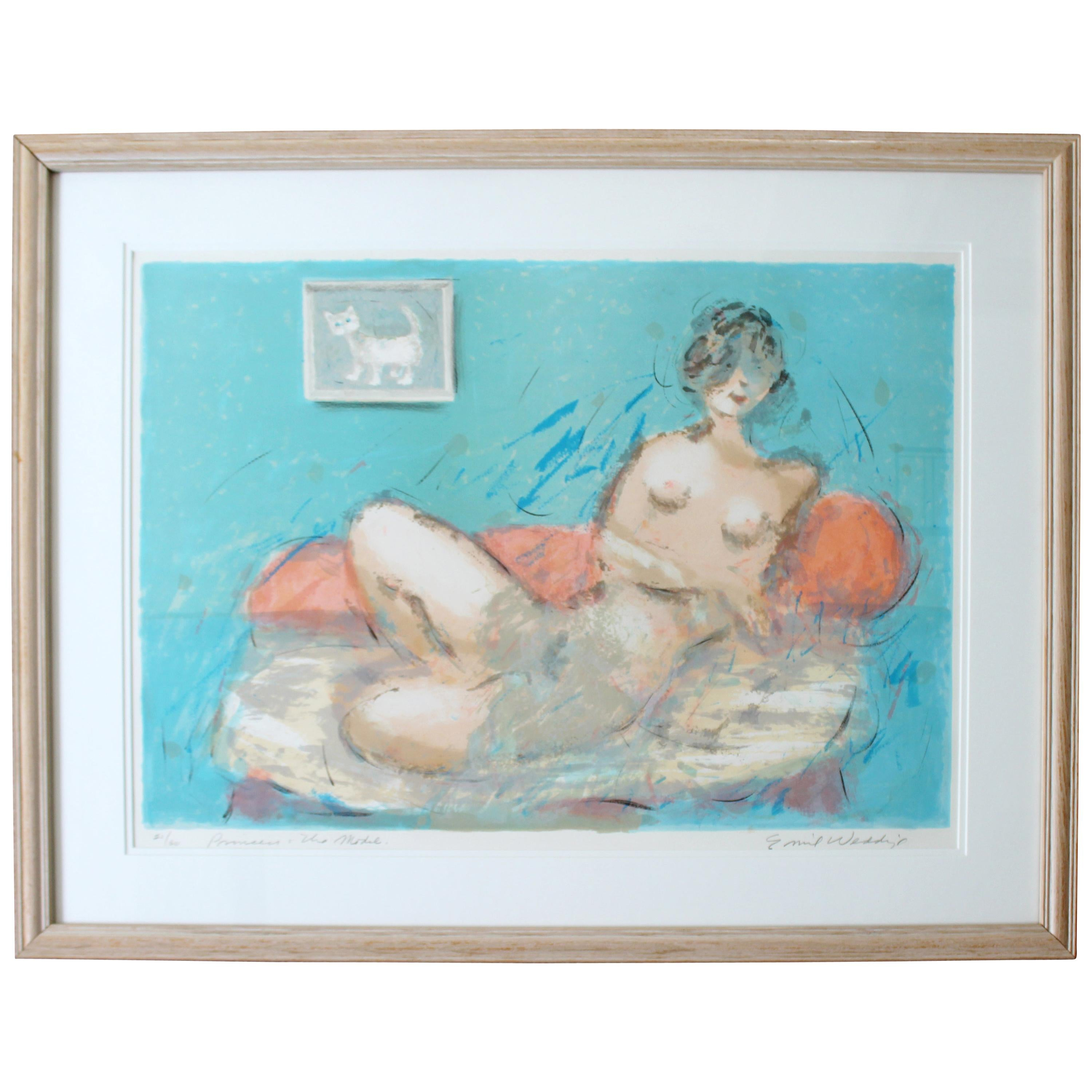 Mid-Century Modern Framed Emil Weddige Signed Lithograph of Reclining Nude 21/60