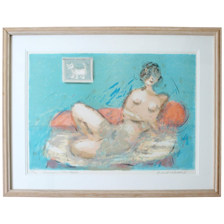 Mid-Century Modern Framed Emil Weddige Signed Lithograph of Reclining Nude 21/60 For Sale