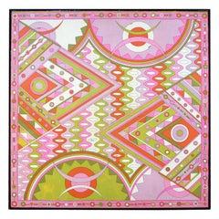 Mid-Century Modern Framed Emilio Pucci Silk Scarf Textile Fabric Art, 1960s