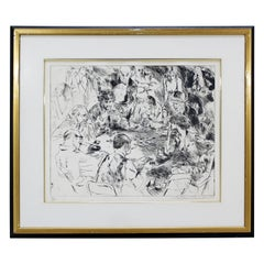 Mid-Century Modern Framed Game of Life Etching Signed Leroy Neiman 191/250