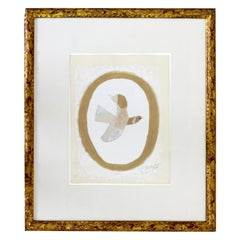 Mid-Century Modern Framed Georges Braque Signed Lithograph L'oiseau 1960s 76/125