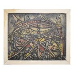 Mid-Century Modern Framed German Abstract Painting Acryl on Wood, circa 1960