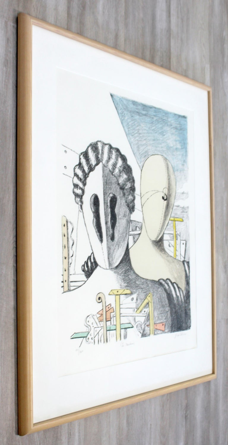 Mid-Century Modern Framed Giorgio De Chirico Signed Le Maschere Lithograph, 1970 In Good Condition For Sale In Keego Harbor, MI