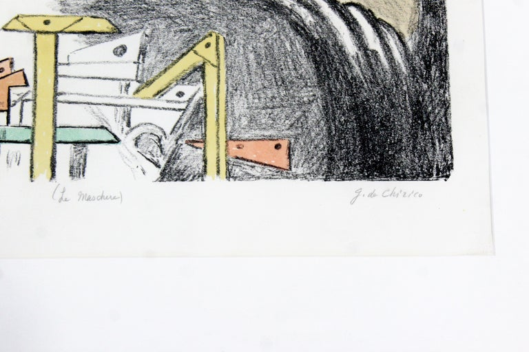Paper Mid-Century Modern Framed Giorgio De Chirico Signed Le Maschere Lithograph, 1970 For Sale