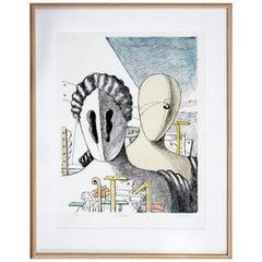Mid-Century Modern Framed Giorgio De Chirico Signed Le Maschere Lithograph, 1970