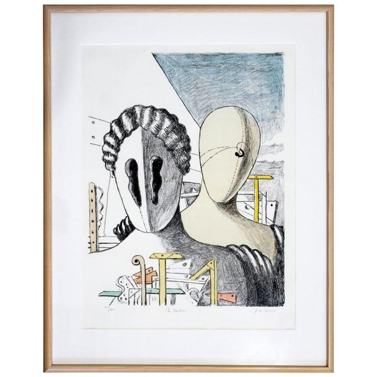Mid-Century Modern Framed Giorgio De Chirico Signed Le Maschere Lithograph, 1970 For Sale