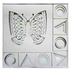 Mid-Century Modern Framed Greg Copeland 3D Butterfly Art Wall Mirror, 1973
