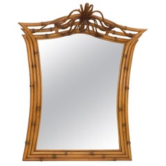 Mid-Century Modern Framed Handcrafted Bamboo, Wood and Wicker Wall Mirror, 1960s