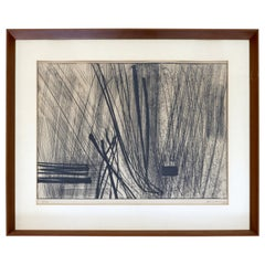 Mid-Century Modern Framed Hans Hartung Limited Edition Etching Hand Signed 1960s