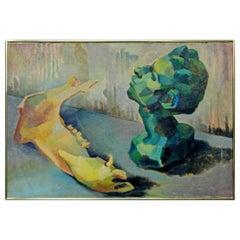 Mid-Century Modern Framed Impressionist Oil Canvas Painting Signed B. Rosenbaum