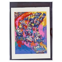 Mid-Century Modern Framed Indy Start A.P. Lithograph Signed Leroy Neiman, 1970s