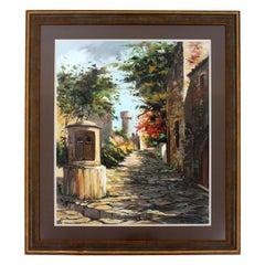 Mid-Century Modern Framed J. Farre Signed Original Acrylic Painting Street Scene