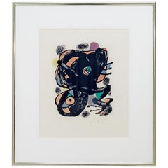 Mid-Century Modern Framed Joan Miro XXE Siecle Signed Numbered Lithograph, 1960s