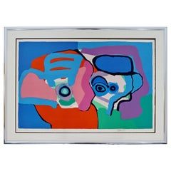 Mid-Century Modern Framed Karel Appel Signed A.P. Litho Head Like Clouds, 1970s