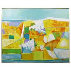 Mid-Century Modern Framed Large Abstract Acrylic Canvas Painting Lee Reynolds