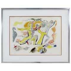 Mid-Century Modern Framed Large E.A. Lithograph Seduction Signed Andre Masson