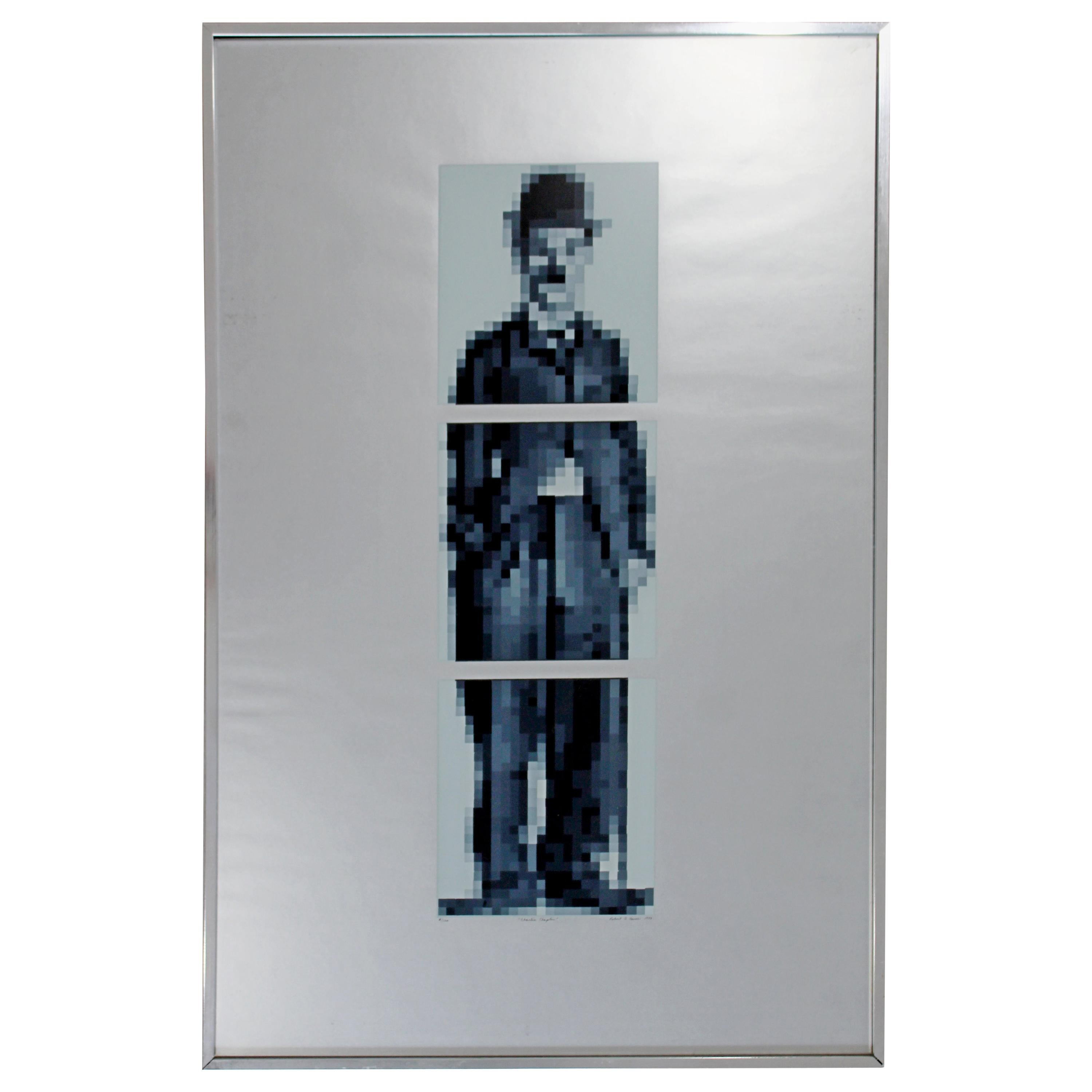 Mid-Century Modern Framed Lithograph Charlie Chaplin Signed Robert Hover, 1970s