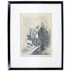 Mid-Century Modern Framed Lithograph Signed Joe Jones 1950s Scavengers 6/30