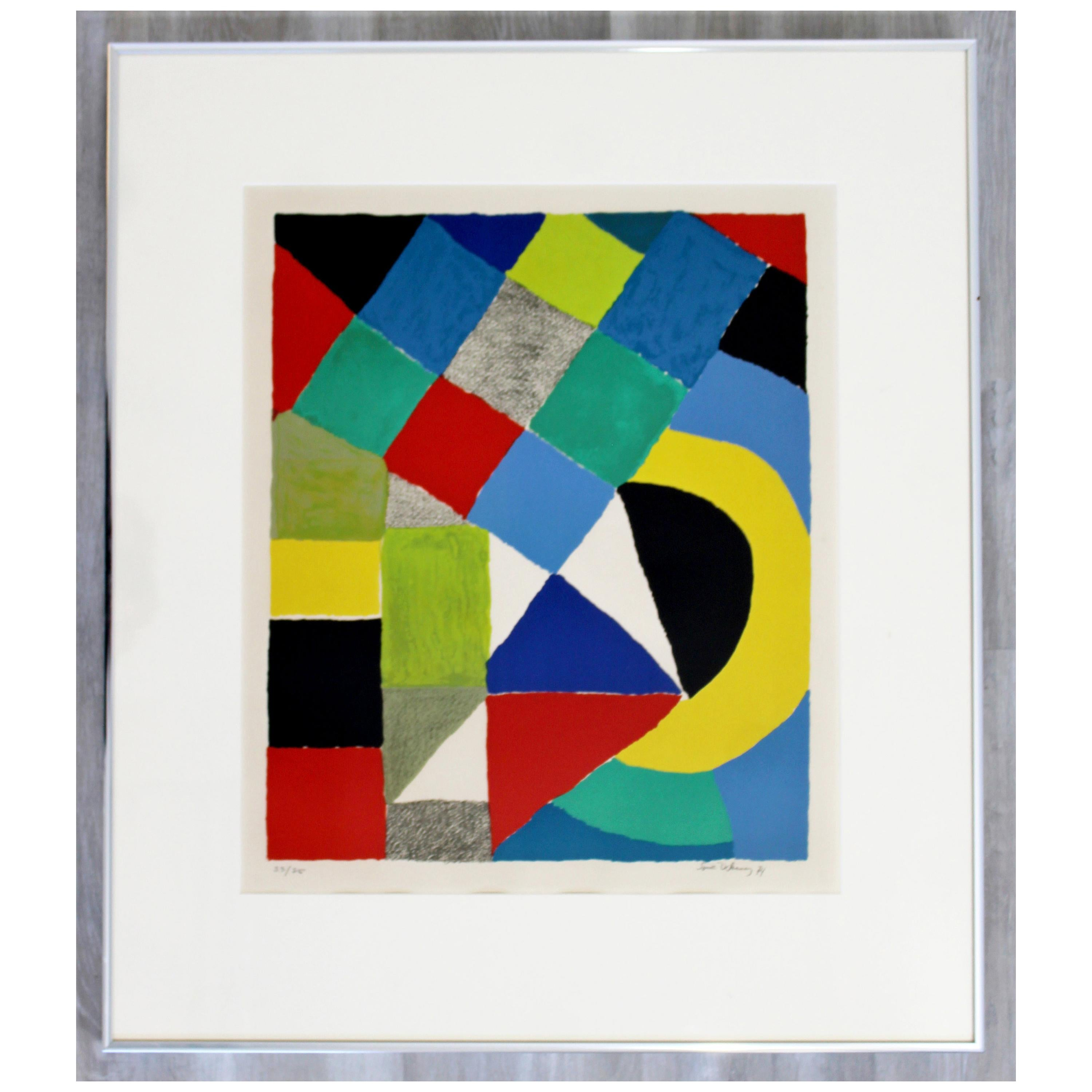 Mid-Century Modern Framed Lithograph Signed Sonia Delaunay Arlequin 53/75, 1970s