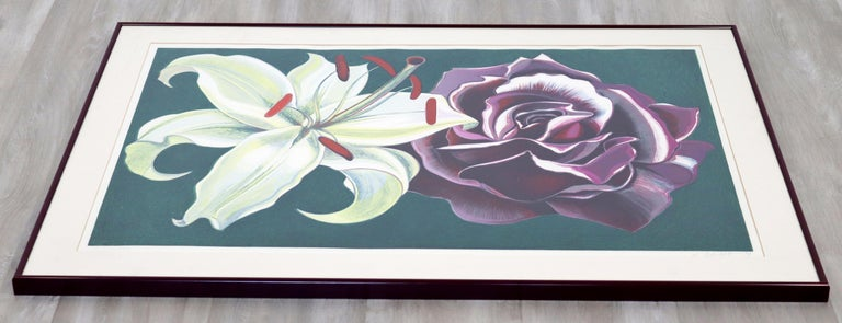 Mid-Century Modern Framed Lowell Nesbitt Hand Signed Lithograph Lily & Rose 70s In Good Condition For Sale In Keego Harbor, MI