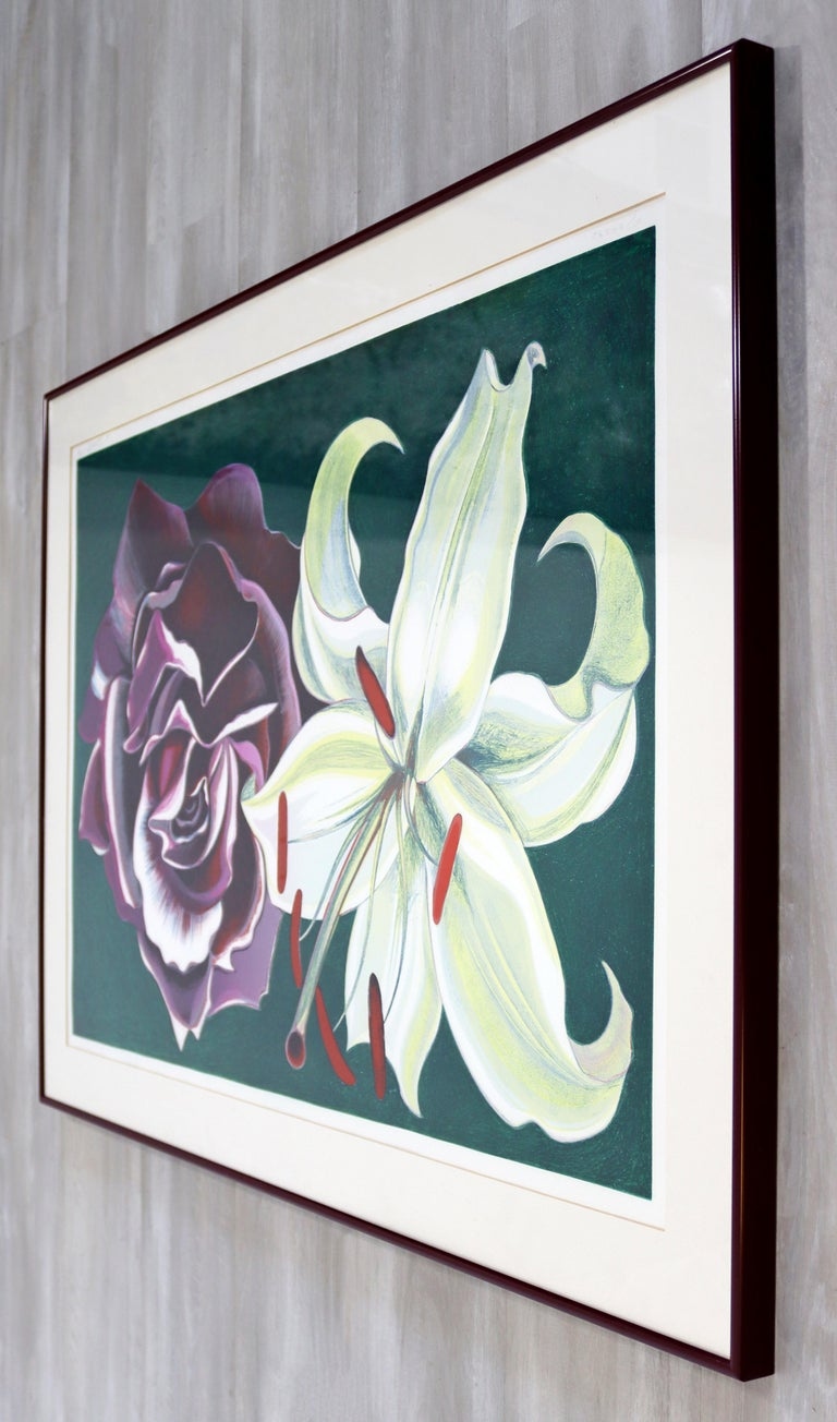 Late 20th Century Mid-Century Modern Framed Lowell Nesbitt Hand Signed Lithograph Lily & Rose 70s For Sale