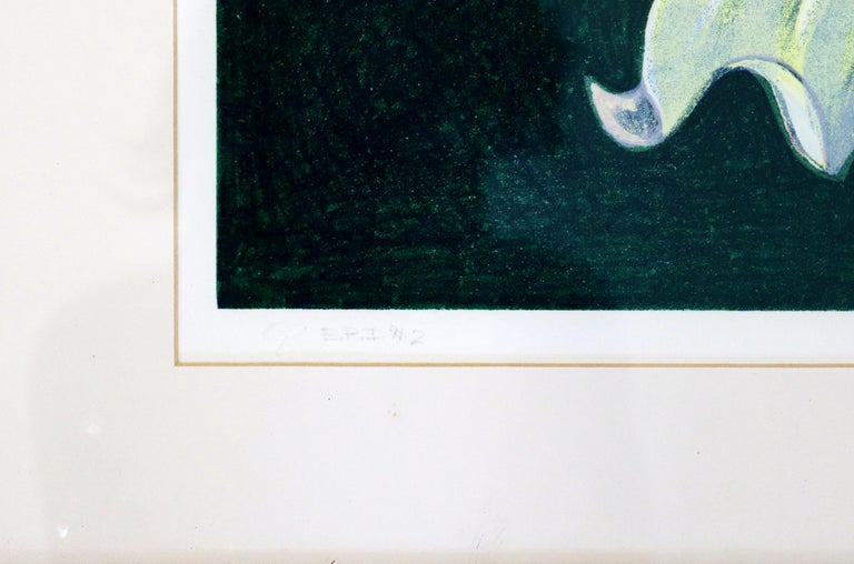 Paper Mid-Century Modern Framed Lowell Nesbitt Hand Signed Lithograph Lily & Rose 70s For Sale