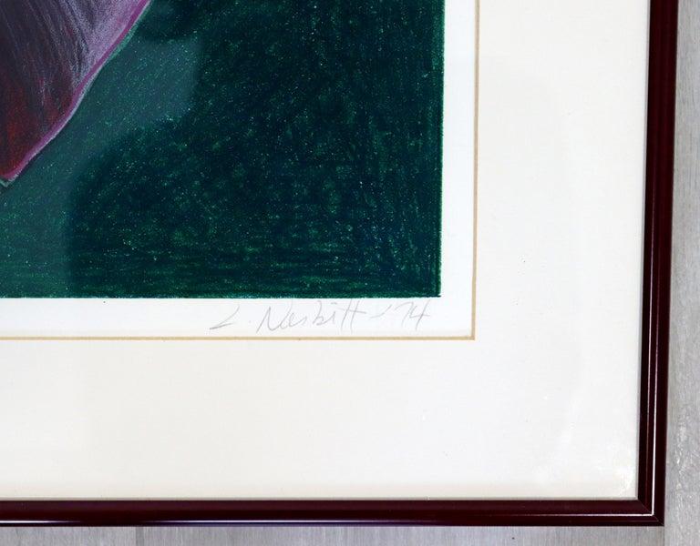 Mid-Century Modern Framed Lowell Nesbitt Hand Signed Lithograph Lily & Rose 70s For Sale 1