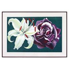 Mid-Century Modern Framed Lowell Nesbitt Hand Signed Lithograph Lily & Rose 70s