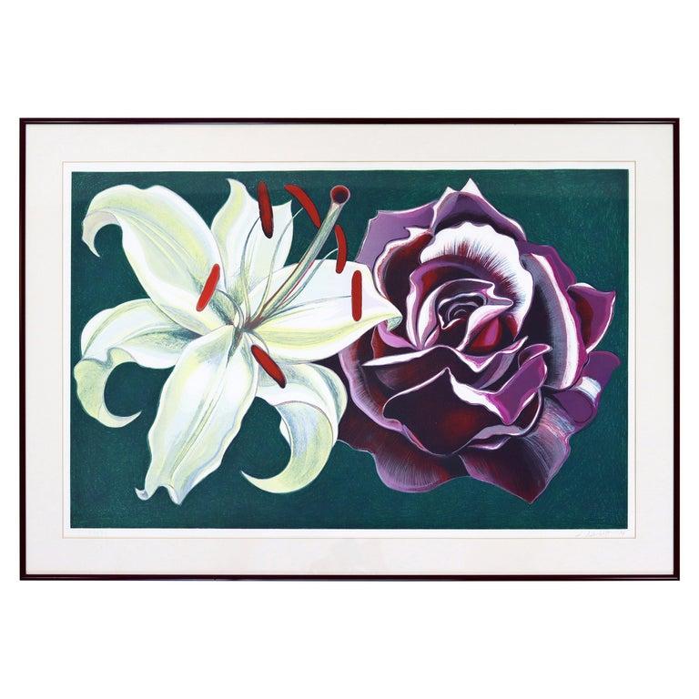 Mid-Century Modern Framed Lowell Nesbitt Hand Signed Lithograph Lily & Rose 70s For Sale