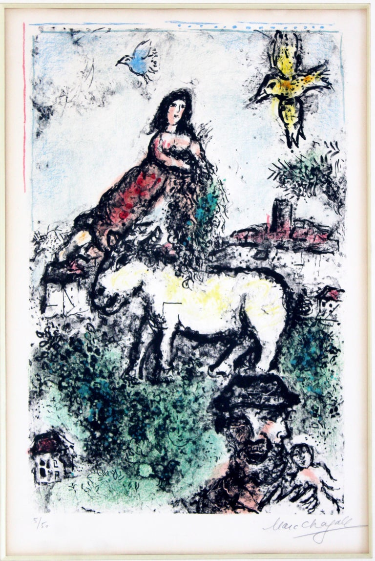 For your consideration is a magnificent, framed Jardin Perdue lithograph, signed by Marc Chagall, numbered 5/50, circa 1969. In excellent condition. The dimensions are 25.5