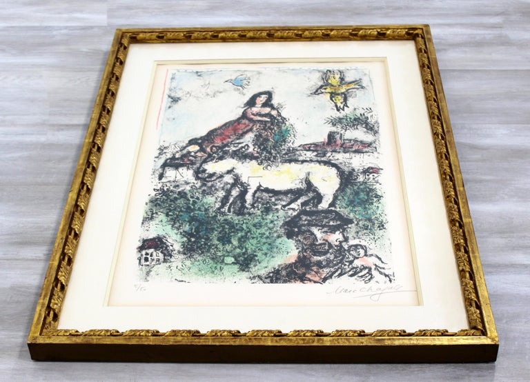 Mid-Century Modern Framed Marc Chagall Signed Lithograph Un jardin perdu 5/50 In Good Condition For Sale In Keego Harbor, MI