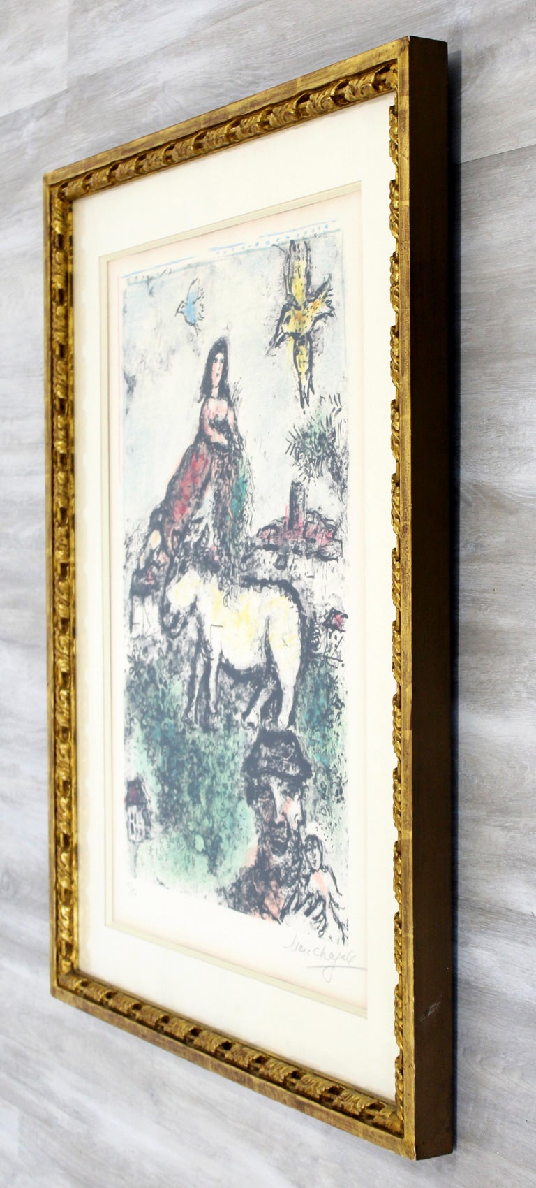 Mid-20th Century Mid-Century Modern Framed Marc Chagall Signed Lithograph Un jardin perdu 5/50 For Sale