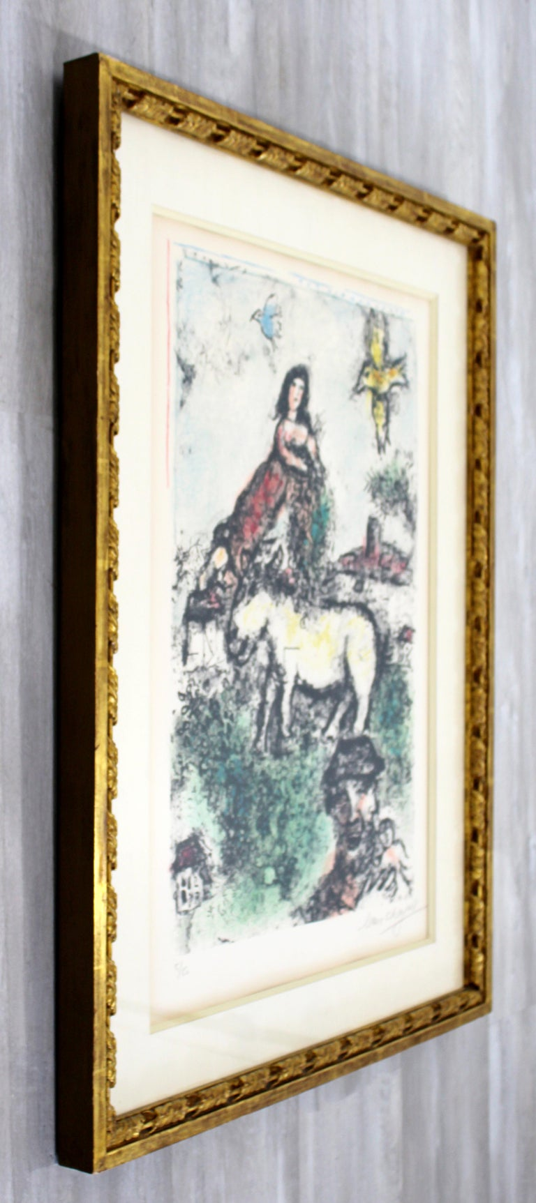 Paper Mid-Century Modern Framed Marc Chagall Signed Lithograph Un jardin perdu 5/50 For Sale