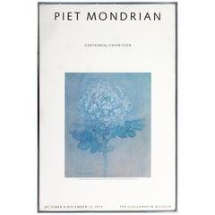 Mid-Century Modern Framed Mondrian Centennial Guggenheim Museum Poster, 1971