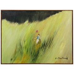 Mid-Century Modern Framed Oil Canvas Painting Signed B. Salinas 1960s Balloon