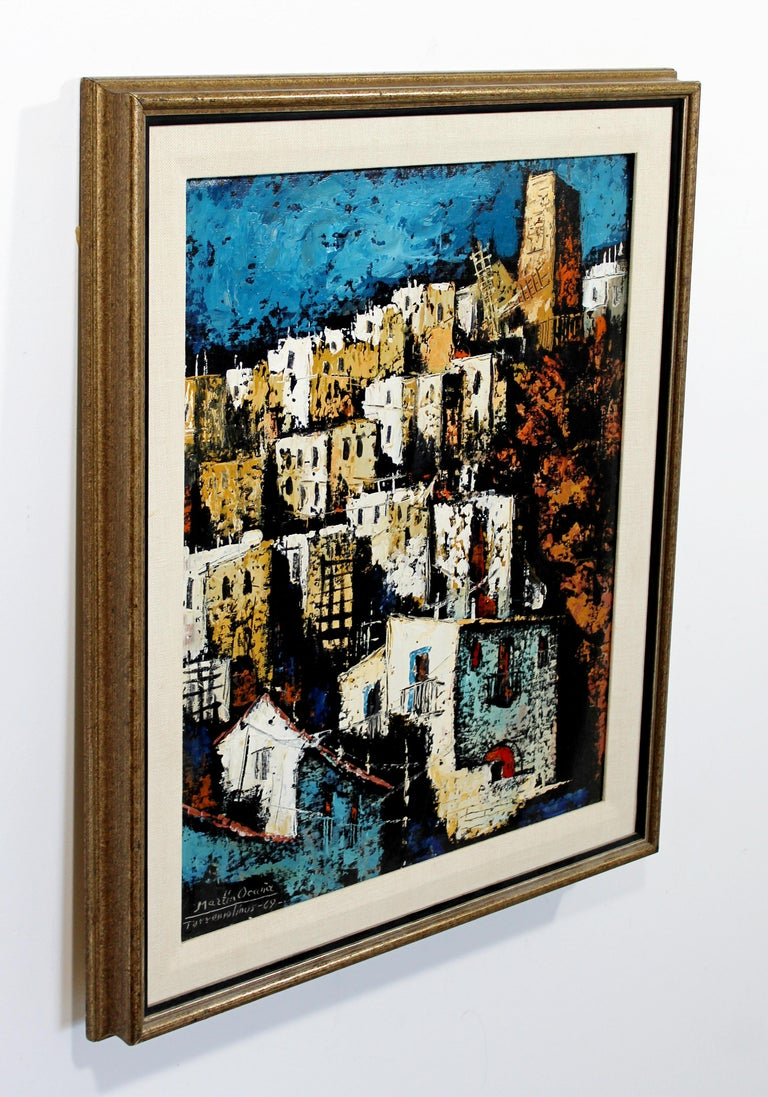 For your consideration is a fantastic, framed, oil on canvas painting, depicting a city scene, signed by Martin Ocanez, dated 1969. In excellent condition. The dimensions are 22.5