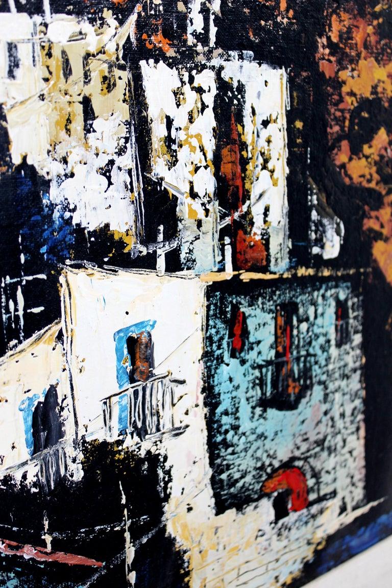 Mid-20th Century Mid-Century Modern Framed Oil Canvas Painting Signed Martin Ocanez City Scene 69 For Sale