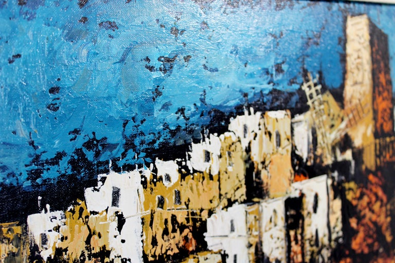 Mid-Century Modern Framed Oil Canvas Painting Signed Martin Ocanez City Scene 69 For Sale 1