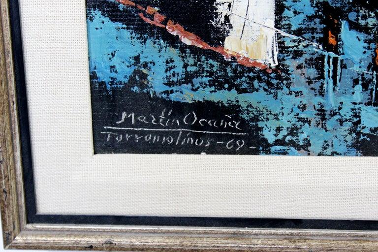 Mid-Century Modern Framed Oil Canvas Painting Signed Martin Ocanez City Scene 69 For Sale 2